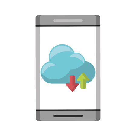 cellphone with cloud icon cartoon vector illustration graphic design Ilustração