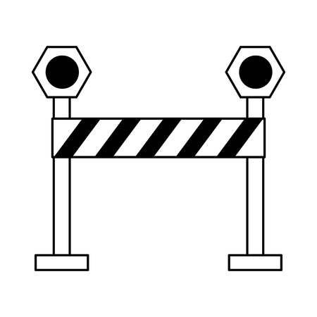 warning construction sign icon cartoon vector illustration graphic design black and white  イラスト・ベクター素材