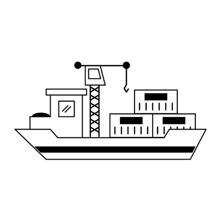 Freighter ship with containers and crane vector illustration graphic design Vettoriali