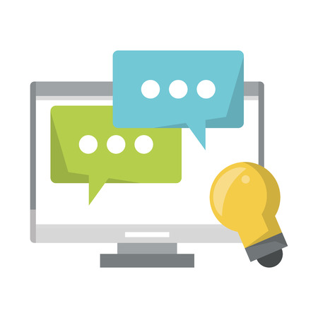 computer with speech bubble and light bulb icon cartoon vector illustration graphic design