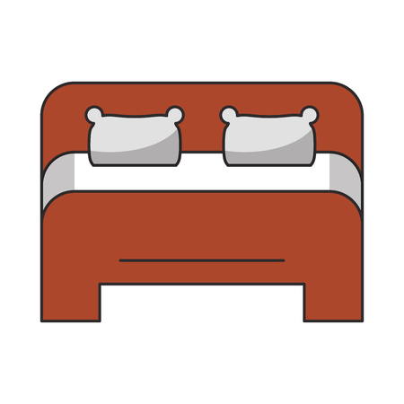 Bed king size frontview cartoon vector illustration graphic design Çizim