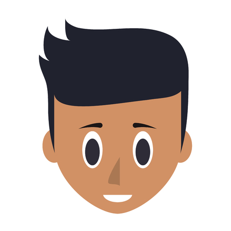 Young man face head cartoon vector illustration graphic design