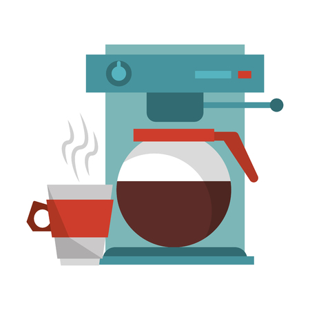 Espresso machine with coffee pot hot beverage and steamy cup vector illustration graphic desing