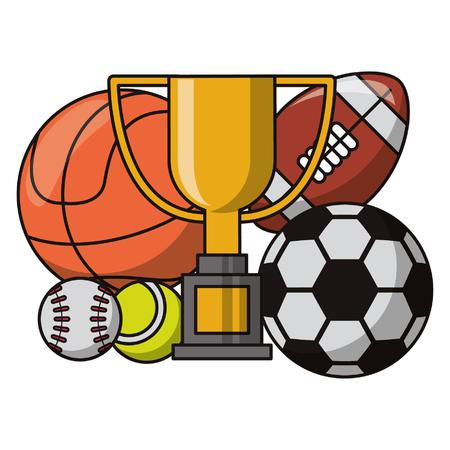 Elementos de equipamiento deportivo y fitness dibujos animados ilustración vectorial diseño gráfico
