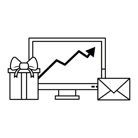 Gift delivery business tendency data logistic communication correspondance graph vector illustration graphic desing