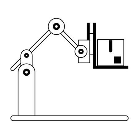 Hydraulic arm with box symbol vector illustration graphic design