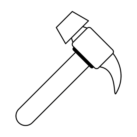 Work hammer wooden grip multi purpose tool with nail remover vector illustration graphic desing