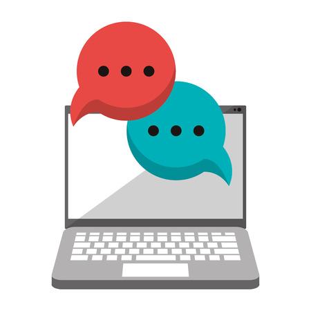 computer with speech bubbles icon cartoon vector illustration graphic design