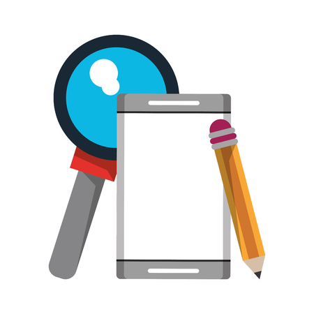 cellphone with pencil and magnifying glass icon cartoon vector illustration graphic design Vettoriali