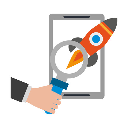 tablet with rocket and magnifying glass icon cartoon vector illustration graphic design