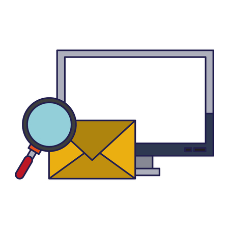 Computer email search business correspondance vector illustration graphic desing Vecteurs