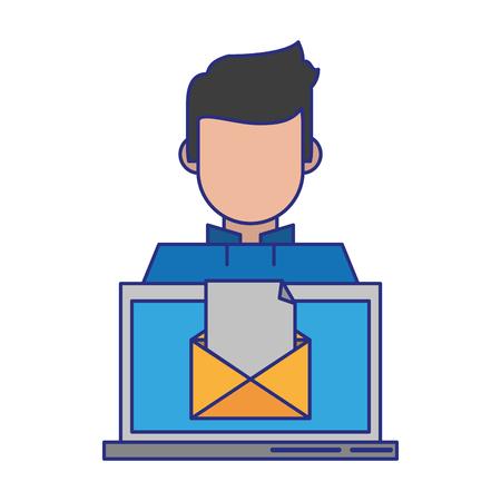 computer with envelope icon cartoon vector illustration graphic design Stock Illustratie