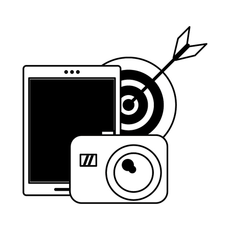 cellphone target and camera icon cartoon vector illustration graphic design black and white Vettoriali