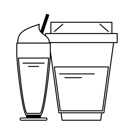 Cold sweet coffee with whipped cream and hot plastic cup with lid and sleeve vector illustration graphic desing