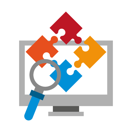 computer puzzle and magnifying glass icon cartoon vector illustration graphic design