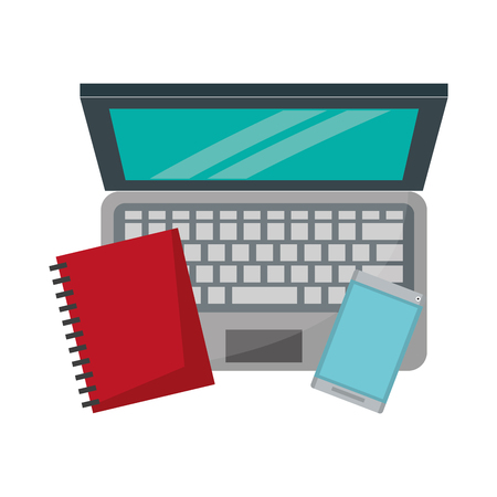 computer with book and cellphone icon cartoon vector illustration graphic design Ilustrace