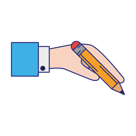 hand holding pencil icon cartoon vector illustration graphic design