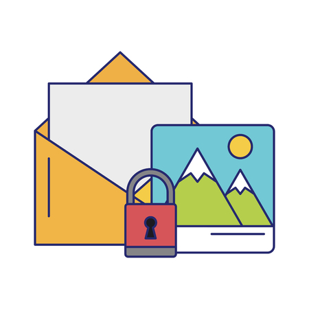 mountain landscape padlock and envelope icon cartoon vector illustration graphic design
