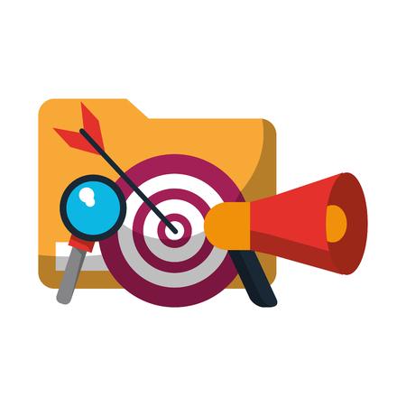 document target and magnifying glass icon cartoon vector illustration graphic design Ilustração
