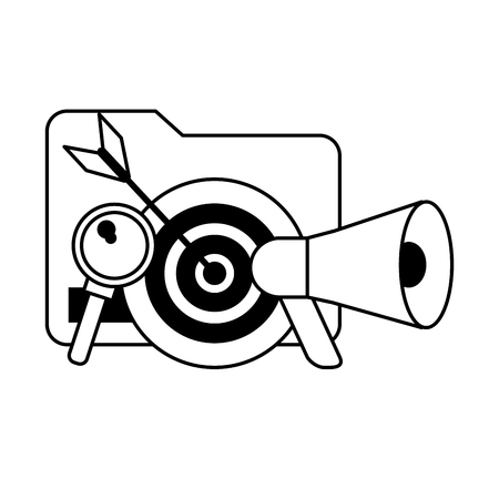 document target and magnifying glass icon cartoon vector illustration graphic design black and white