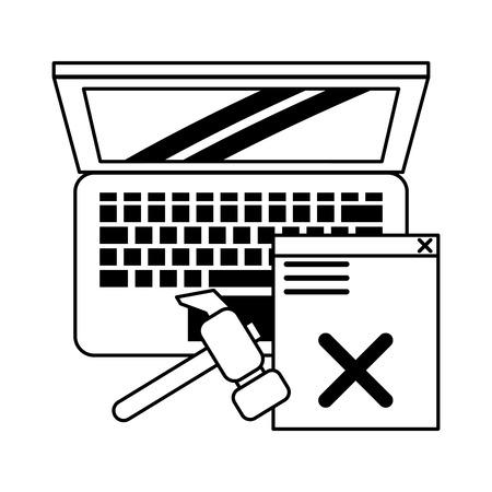 computer and broken web site and tools icon cartoon vector illustration graphic design black and white Ilustração