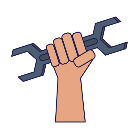 Hand holding wrench construction and repair gripping and using tool vector illustration graphic design vector illustration graphic desing  イラスト・ベクター素材