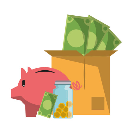 Invesment market business portafolio money jar and box coins bills and piggybank vector illustration graphic desing