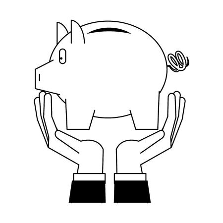 Savings banking invesment portafolio with hands holding piggybank vector illustration graphic desing Illustration