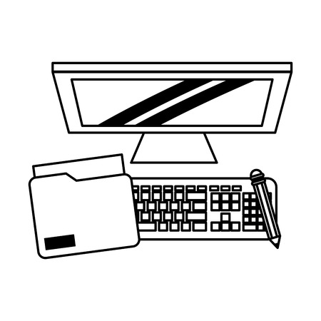 computer with pencil and document icon cartoon vector illustration graphic design black and white Ilustração