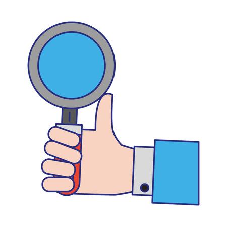 hand with magnifying glass icon cartoon vector illustration graphic design Ilustração