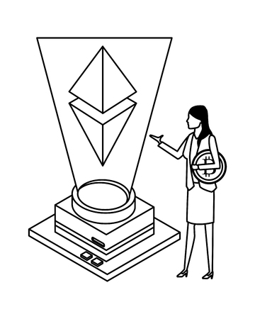 businesswoman with cryptocurrency and geometric figure icon cartoon black and white vector illustration graphic design