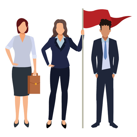 executive business coworkers with success flag cartoon vector illustration graphic design Imagens - 122856355