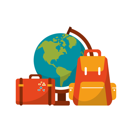 Travel and vacations elements cartoon vector illustration graphic design