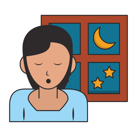Sleeping and resting woman with eyes closed and window cartoons vector illustration graphic design Vettoriali