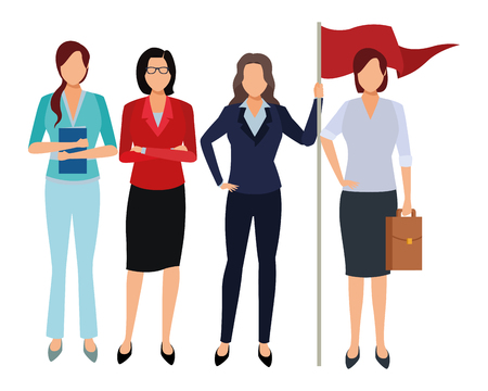 executive business coworkers with success flag cartoon vector illustration graphic design Imagens - 122856379