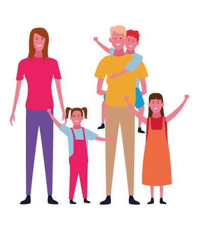 Family parents with daughters and son on back vector illustration graphic design