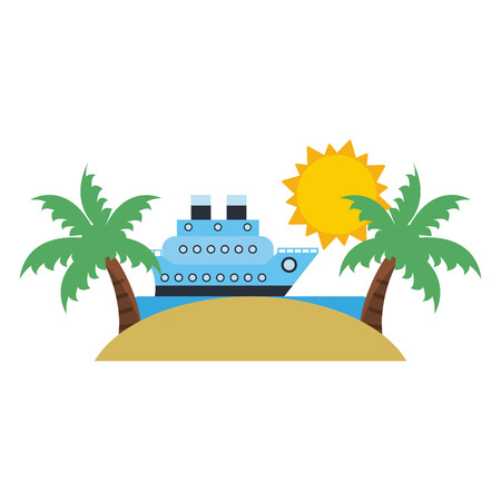 Vacations and travel cruise ship in the beach vector illustration graphic design Zdjęcie Seryjne - 122856417