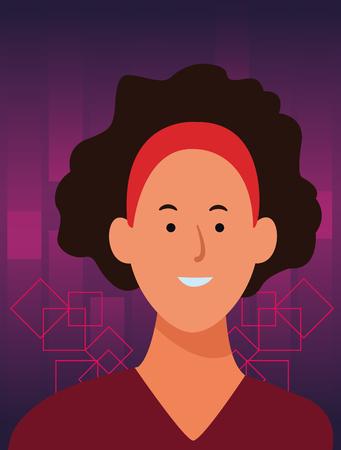 woman portrait cartoon avatar wearing headband  over digital purple background frame vector illustration graphic design