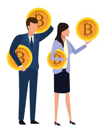 Business people with bitcoins avatars vector illustration graphic design Standard-Bild - 122856459