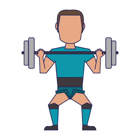 Man lifting weights avatar isolated vector illustration graphic design