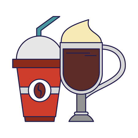 Coffee cold sweet drink with whipped cream plastic cup and straw coffeeshop vector illustration graphic desing Illusztráció