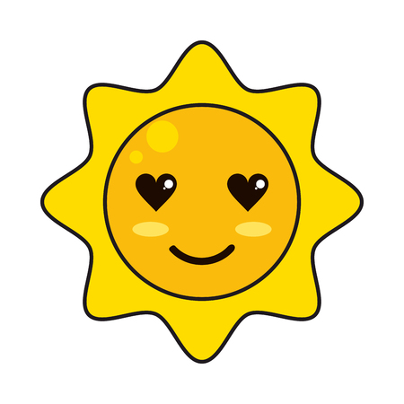 Sun in love cute kawaii cartoon vector illustration graphic design