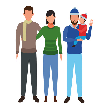 family avatar cartoon character couple man and child wearing winter clothes vector illustration graphic design