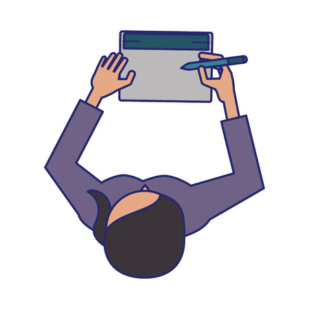 woman with laptop icon cartoon vector illustration graphic design 向量圖像