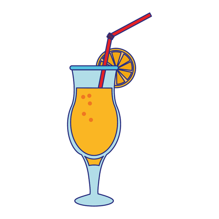 Summer cocktail with orange and straw isolated vector illustration graphic design