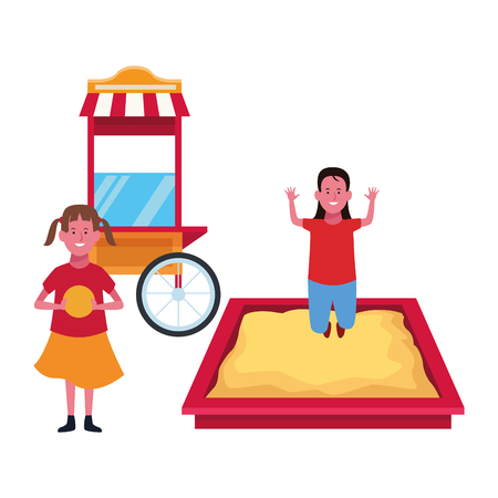 Kids playing with funny playground games vector illustration graphic design