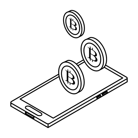 cellphone and cryptocurrency bitcoin icon cartoon black and white vector illustration graphic design