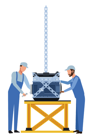 car service manufacturing workers assembling cartoon vector illustration graphic design Illustration