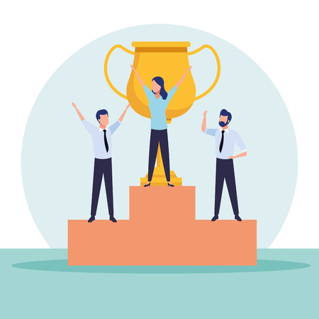 Business coworkers with cup on podium cartoons vector illustration graphic design