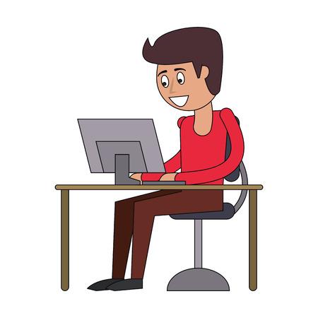 man using computer icon cartoon vector illustration graphic design
